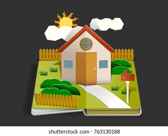Home Paper cut pop up design concept. Living with happy family in home. Storytelling by book. Basic House idea.