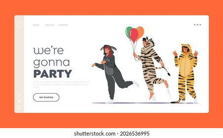 Home Party Celebration Landing Page Template. People in Kigurumi Pajamas, Young Men and Women Wear Animal Costumes Donkey, Zebra and Tiger with Balloons, Teenagers Fun. Cartoon Vector Illustration