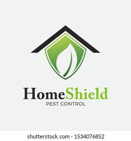 Home pest control logo concept, top roof with green shield