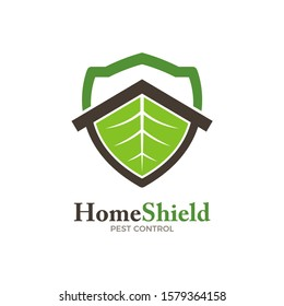 Home pest control logo concept, top roof with green leaf shield