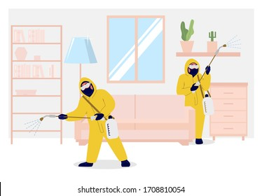 Home pest control services, vector flat illustration. Exterminator team spraying living room with insecticide to rid home of insects or rodents. Domestic disinfection, insect control concept.