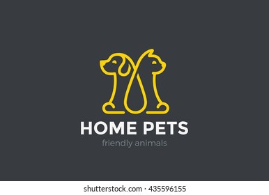 Home pets Logo dog cat design vector template Linear style.