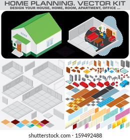 Home Planning Set. Isometric Vector Kit for Design and Decorate Your Home, Room, Apartment or Office Interior...