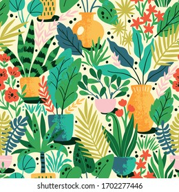 Home plants in ceramic pots vector seamless pattern. Domestic flowers colorful texture. Exotic houseplants in flowerpots illustration