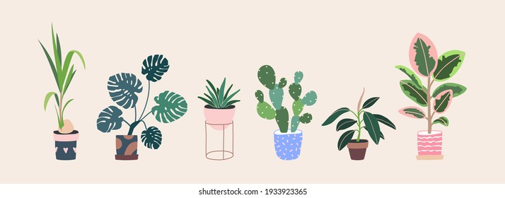 Home plants in flower pot. Houseplants isolated. Trendy hygge style, urban jungle decor. Hand drawn. Set collection. Green, blue, pink, brown, beige pastel colors. Print, poster, banner. Logo, label.