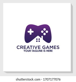 home and player game logo design template