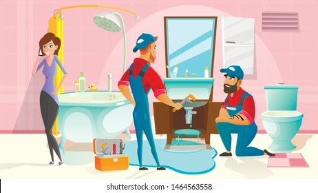 Home Plumber Service Cartoon Vector Concept with Two Plumbers in Uniform, Working in Home Bathroom, Repairing Damaged Pipes, Stopping Water Leaking While Client Woman Talking on Phone Illustration