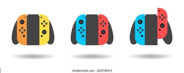 Home / portable video game controller line art vector icon for gaming apps and websites .DEC 8, 2018: Illustration of nintendo switch.