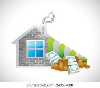 home prices rising up. business graph illustration design over a white background