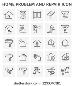 Home problem and repair service icon set design.