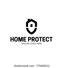 Home Protect logo design template. Vector shield and house logotype illustration. Graphic home security icon label. Modern building alarm symbol. Security sign badge isolated on background