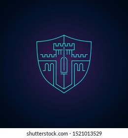 Home protection or data security logo template - outline modern emblem with castle stronghold tower inside shield shape - privacy defence icon