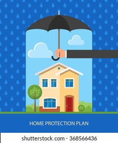 Home protection plan concept. Vector illustration in flat design. Hand holding umbrella to protect house from rain