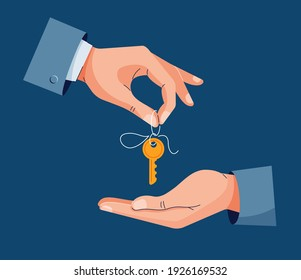 Home purchase deal vector illustration. Male hand giving house keys for property buying. Deal sale, property purchase, real estate agency, dealing house concept concept. Flat cartoon design