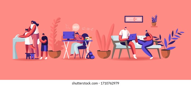 Home Quarantine Concept. Characters Compelled Isolation due to Covid19 Pandemic. Pupils Remote School Education, Freelancer Distant Work. People Wash Hands, Wear Masks. Cartoon Vector Illustration