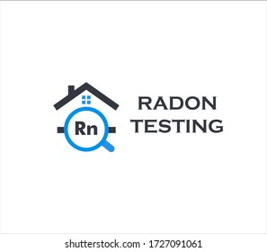 Home radon testing service logo. Rn pollution first alert kit, remediation logotype. Dangerous poisonous chemical element detection company vector illustration.