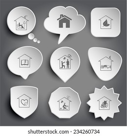 home reading, hothouse, library, affiance, bedroom, orphanage, inspiration, nursing home. White vector buttons on gray.
