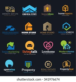 Home and real estate logo set, Love House, Property, Marketing, Infinity brand identity.