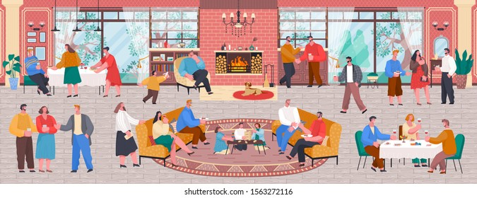 Home reception or house party, people eating and talking, children playing. Living room with fireplace interior, family and friends gathering. Characters having home dinner and speaking vector