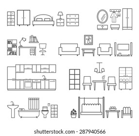 Home related icons. Furniture for different rooms. Bath and hall, bedroom and kitchen, vector illustration
