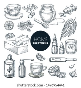 Home remedies treatment and medicines for colds, coughs. Vector hand drawn sketch illustration. Healthcare natural herbal therapy icons, isolated on white background.