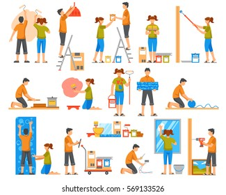 Home renovation flat colored decorative icons set with family members bonding wallpaper coloring wall washing windows isolated vector illustration
