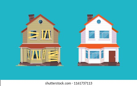 Home renovation. House before and after repair. New and old suburban cottage. Isolated vector illustration. Renovation home and repair, remodel building