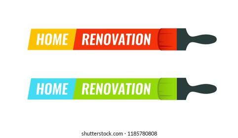 Home Renovation, Set of Vector emblem illustration for House Remodel logotype