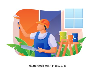 Home Renovation Vector Concept Illustration, Suitable for web landing page, ui, mobile app, editorial design, flyer, banner, and other related occasion