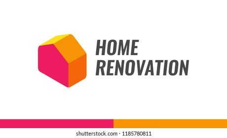 Home renovation - Vector Logo illustration for House Remodel Service.