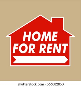 Home for rent sign vector