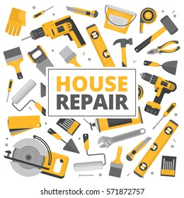 Home repair banner. Construction tools. Hand tools for home renovation and construction. Flat style, vector illustration.