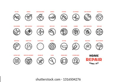 Home repair and building icons set in thin line style. For packaging, label and web design. Isolated on white background