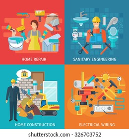 Home repair design concept set with sanitary engineering flat icons isolated vector illustration