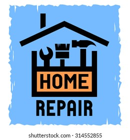 Home Repair emblem with tool box and symbol of a house.
