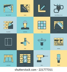 Home repair flat line icons set with wallpaper paint marking isolated vector illustration