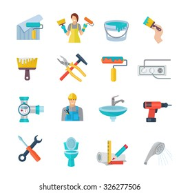 Home repair icons flat set with working instruments isolated vector illustration