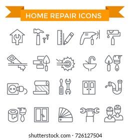 Home repair icons, line flat design