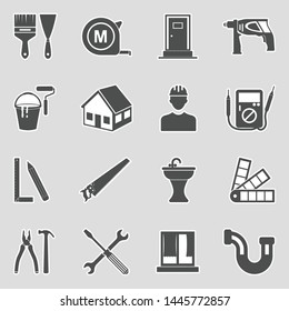 Home Repair Icons. Sticker Design. Vector Illustration.