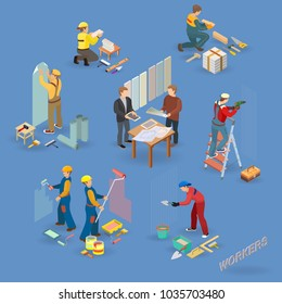 Home repair isometric icons set with workers, tools and equipment symbols isolated on blue. Building icons set isometric projection. Vector flat 3d illustration.