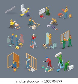 Home repair isometric icons set with workers, tools and equipment symbols isolated on grey. Building icons set isometric projection. Vector flat 3d illustration.