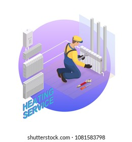 Home repair isometric template. Heating service. Installing thermal system. Repairer is fixing radiator. Builder in uniform holds a tool.  Heating worker and tools. Vector flat 3d illustration.