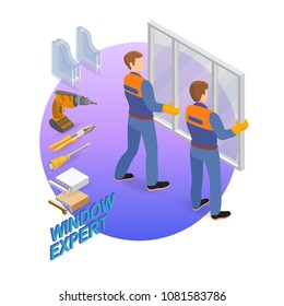 Home repair isometric template. Window expert. Builders and tools. The workers dressed in a blue overalls install window. Repairers in uniform hold a window. Vector flat 3d illustration.