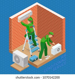 Home repair isometric template. The worker is standing on ladder and is attaching conditioner on a brick wall. Two workers are installing a system of air conditioning. Vector flat 3d illustration.