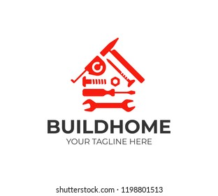 Home repair logo design. House building tools vector design. House construction logotype