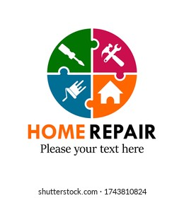 Home repair logo design template illustration.