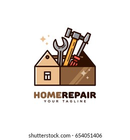 Home repair logo template design. Vector illustration.