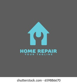 Home repair logo template design on a gray background. Vector illustration.
