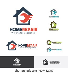 Home Repair Logo Template with Wrench symbol