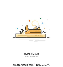 Home repair logo. Wood processing. Joinery. Plane. Line design Vector illustration